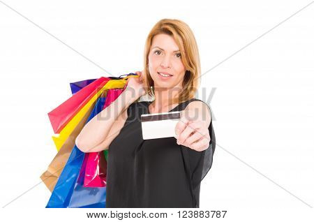 Confident Shopping Woman Hold Credit Or Debit Card