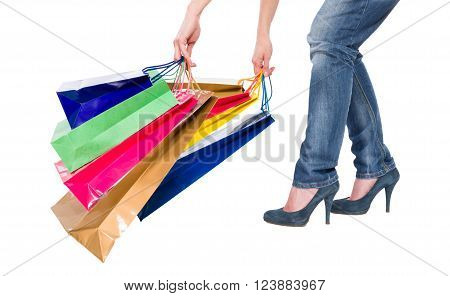 Heavy shopping bags concept isolated on white background
