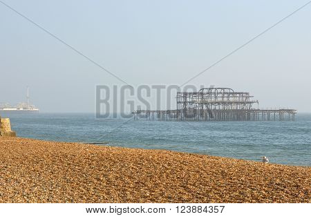 Disused ruined West Pier at Brighton in East Sussex England