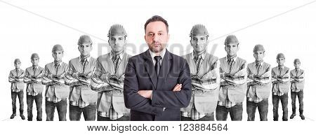 Executive suited manager leader of builders team. Leader boss or head concept.