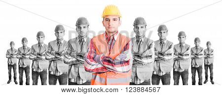 Chief constructor with builders team. Leader or boss concept on wide image