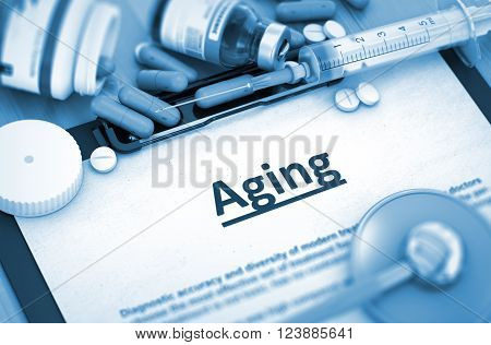 Aging, Medical Concept with Selective Focus. Aging, Medical Concept with Pills, Injections and Syringe. 3D Render. Toned Image.