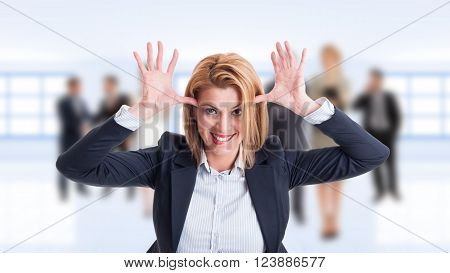 Woman Business Manager Acting Funny And Childish