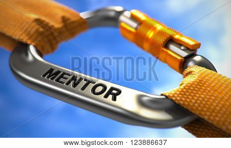 Chrome Carabiner between Orange Ropes on Sky Background, Symbolizing the Mentor. Selective Focus. 3D Render.