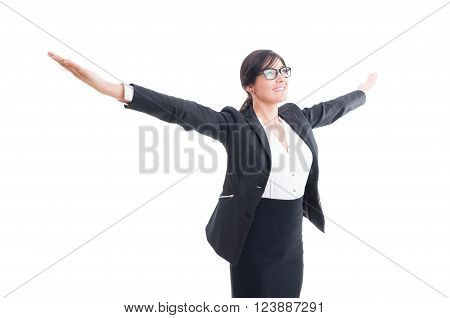 Successful Business Woman With Arms Wide Open
