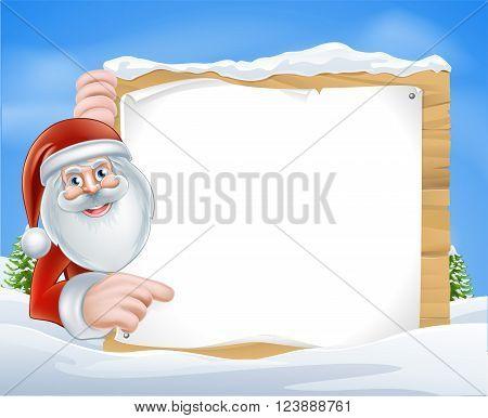 Santa Claus pointing at a Christmas message
