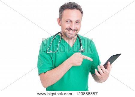 Modern Doctor Holding Tablet