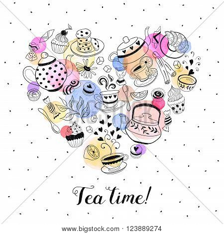 Tea time poster concept. Tea party card design. Hand drawn doodle illustration with teapots cups and sweets. Tea time objects in heart shape. I love tea.