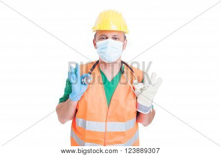Doctor medic or builder or constructor jobs. Job search and find concept