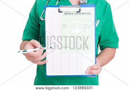Doctor Holding A Clipboard With Ekg And Medical Prescription