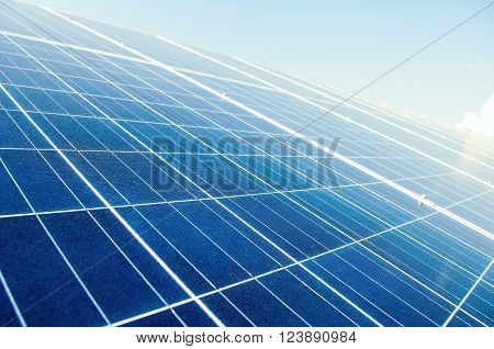 Close up with solar power silicon panels. Photovoltaic system.