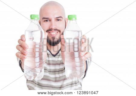 Happy Man Holding Two Plastic Bottles Of Water