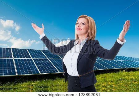 Successful Solar Power Or Green Energy Saleswoman