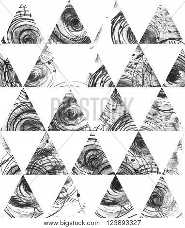 Seamless black and white background based on handdrawn ink triangles hand made in freehand style laconic imperfect on textured watercolor paper beautiful illustration for presentation or design