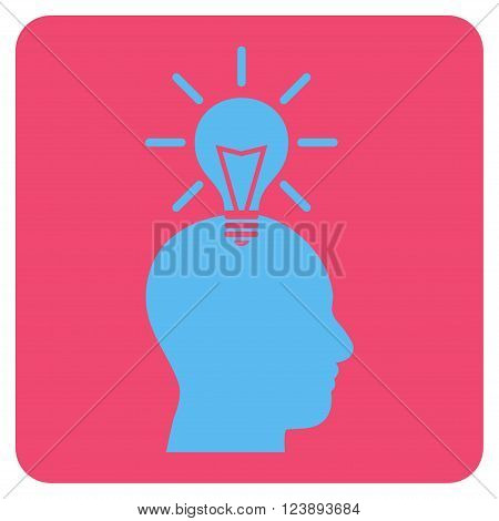 Genius Bulb vector symbol. Image style is bicolor flat genius bulb iconic symbol drawn on a rounded square with pink and blue colors.