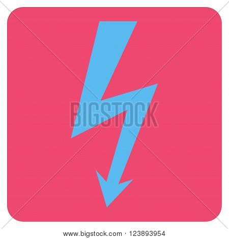 High Voltage vector icon. Image style is bicolor flat high voltage iconic symbol drawn on a rounded square with pink and blue colors.