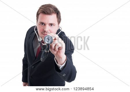 Elegant Doctor Or Medic Wearing Suit Poiting Stethoscope To Camera