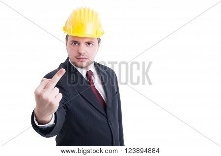 Engineer, Architect Or Contractor Showing Obscene And Insulting Middle Finger