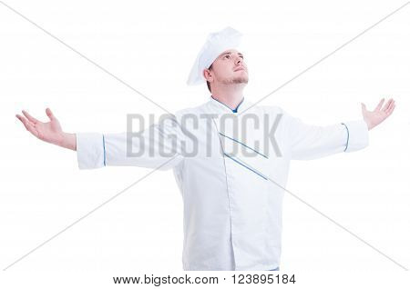 Chef Or Cook With Arms Wide Open Outstretched And Outspread