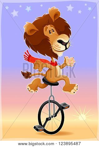 Funny lion on an unicycle. Vector cartoon illustration