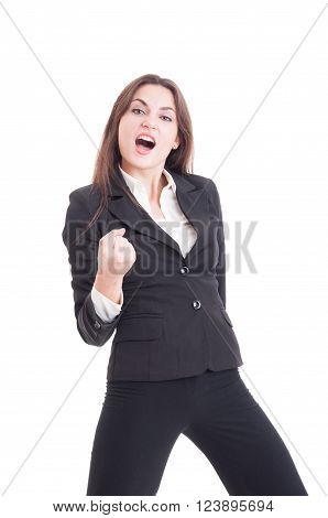 Successful Business Woman Acting Enthusiastic As A Winner