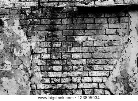 Old brick wall forming a frame (in black and white)
