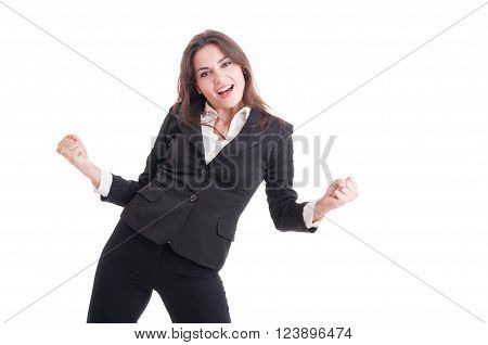 Successful business woman broker or financial manager acting cheerful isolated on white background poster