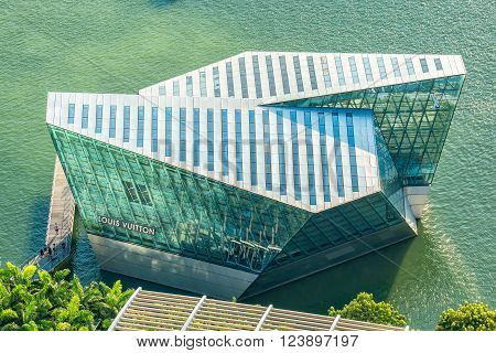 SINGAPORE - JUNE 25: The futuristic building of Louis Vuitton shop in Marina Bay Singapore on June 25 2015.