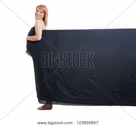 Pregnant Woman Wearing Black Veil With Copy Space