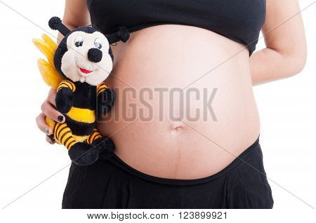 Big Pregnant Woman Belly And Cute Plush Bee Toy