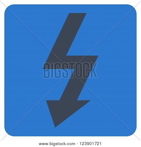 High Voltage vector icon symbol. Image style is bicolor flat high voltage pictogram symbol drawn on a rounded square with smooth blue colors.