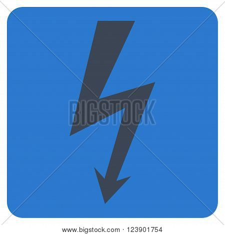 High Voltage vector pictogram. Image style is bicolor flat high voltage icon symbol drawn on a rounded square with smooth blue colors.
