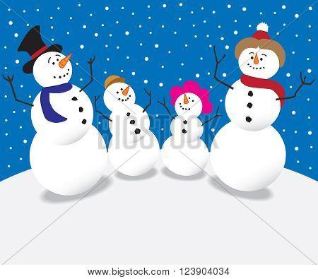Cartoon family of snow people staring into the night sky