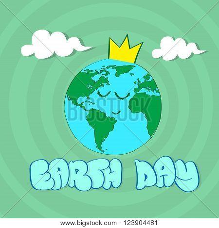 Earth Day World Globe Face Yeas Cartoon Character Wear Crown Sleep Vector Illustration