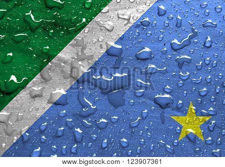 State of Mato Grosso do Sul flag with rain drops