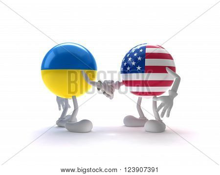 Ukraine and the United States Greeting , Ukraine and the US flag