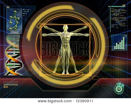 Image of an ideal figure male analyzed by an high technology software. Digital illustration.