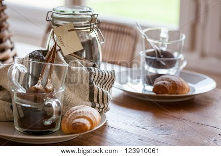 Breakfast With Coffe And Croissant