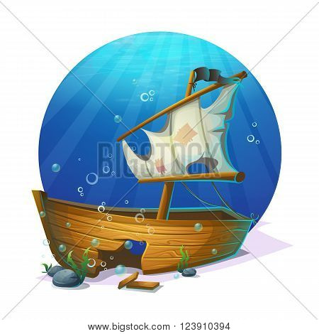 Undersea world. Old pirate ship shipwreck on sandy bottom of ocean. For design websites and mobile phones printing.