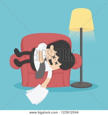 Businessman sleeping on the couch exhausted vector eps .10