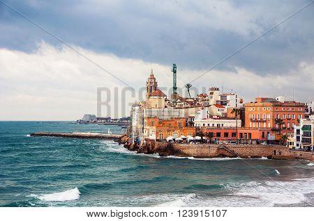 Coastline of summer resort Sitges Costa Dorada Spain