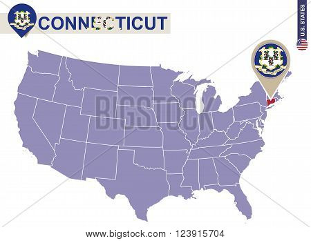 Connecticut State On Usa Map. Connecticut Flag And Map.