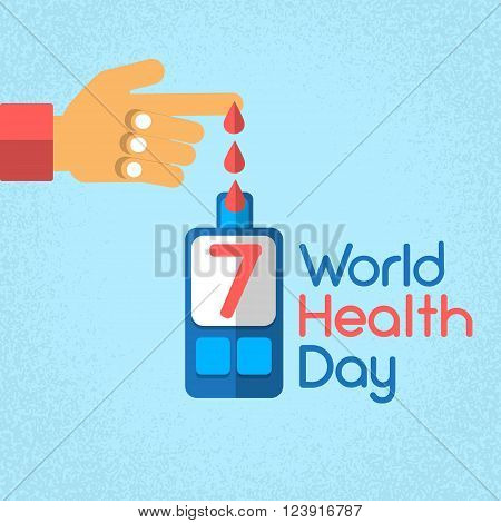 Hand Finger Blood Drop From Glucose Level Glucometer Diabetes World Health Day 7 April Holiday Banner Flat Vector Illustration