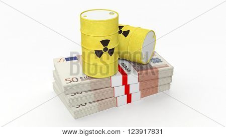 Barrels for radioactive biohazard waste on stacks of euro banknotes, isolated on white background, 3d rendering