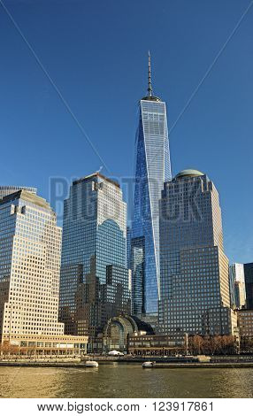 View of the World Financial Center New York City from the Hudson River.