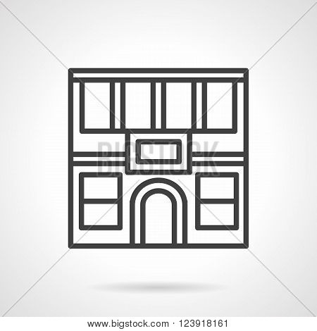 City commercial buildings. Facade of two-story restaurant with arch doors. Storefronts theme. Simple black line vector icon. Single element for web design, mobile app.