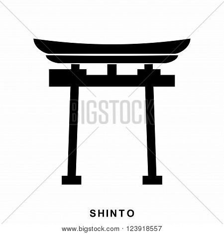 Japan Gate. Shinto - a symbol of Shintoism. Shinto icon in flat style isolated on white background