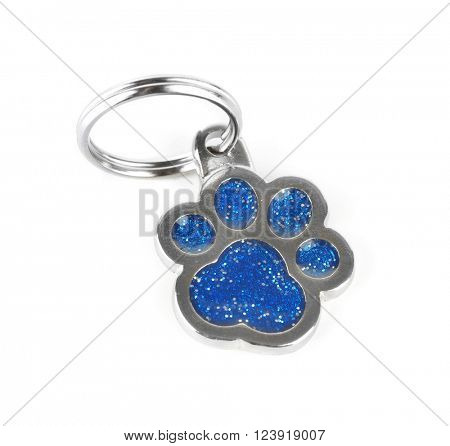 Doggy paw pet charm, isolated on white