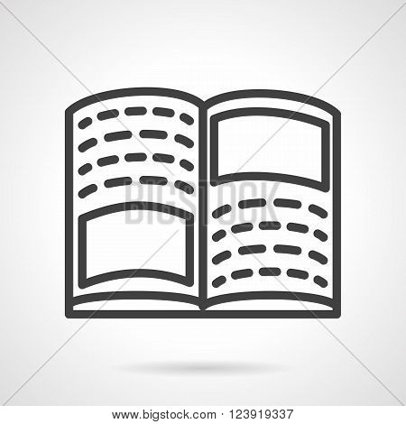 Open book with abstract text and blank space for images. Tutorial, workbook. Education theme. Items for school. Simple black line vector icon. Single element for web design, mobile app.