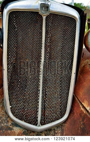 SOLITAIRE NAMIBIA - JAN 30 2016: Grill of the old Morris Eight car at the service station at Solitaire in the Namib Desert Namibia. Popular touristic destination